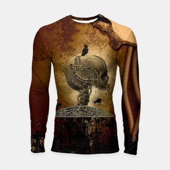 Miniatur Awesome mechanical skull with crow and spider Longsleeve rashguard , Live Heroes