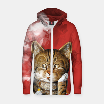 Thumbnail image of Smoking Cat Cotton zip up hoodie, Live Heroes