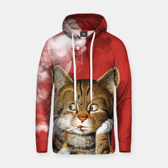 Thumbnail image of Smoking Cat Cotton hoodie, Live Heroes