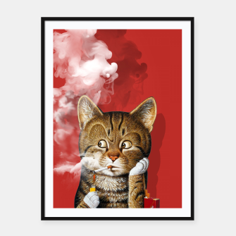 Thumbnail image of Smoking Cat Framed poster, Live Heroes