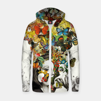 Thumbnail image of Butterfly Woman Cotton zip up hoodie, Live Heroes