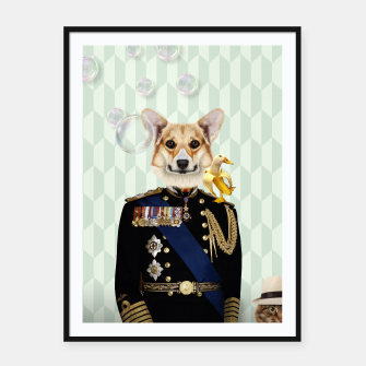 Thumbnail image of Dog Royal Framed poster, Live Heroes