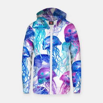 Thumbnail image of Watercolor Jellyfish Print Cotton zip up hoodie, Live Heroes