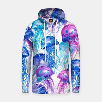 Watercolor Jellyfish Print Cotton hoodie Bild der Miniatur