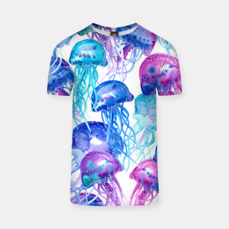 Thumbnail image of Watercolor Jellyfish Print T-shirt, Live Heroes