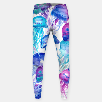 Watercolor Jellyfish Print Cotton sweatpants Bild der Miniatur