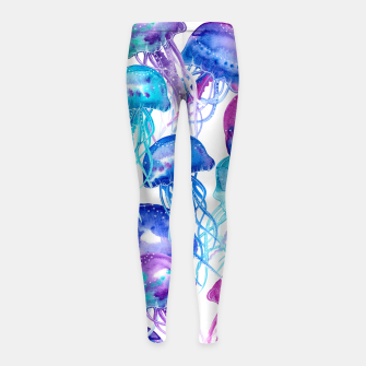 Watercolor Jellyfish Print Girl's leggings Bild der Miniatur