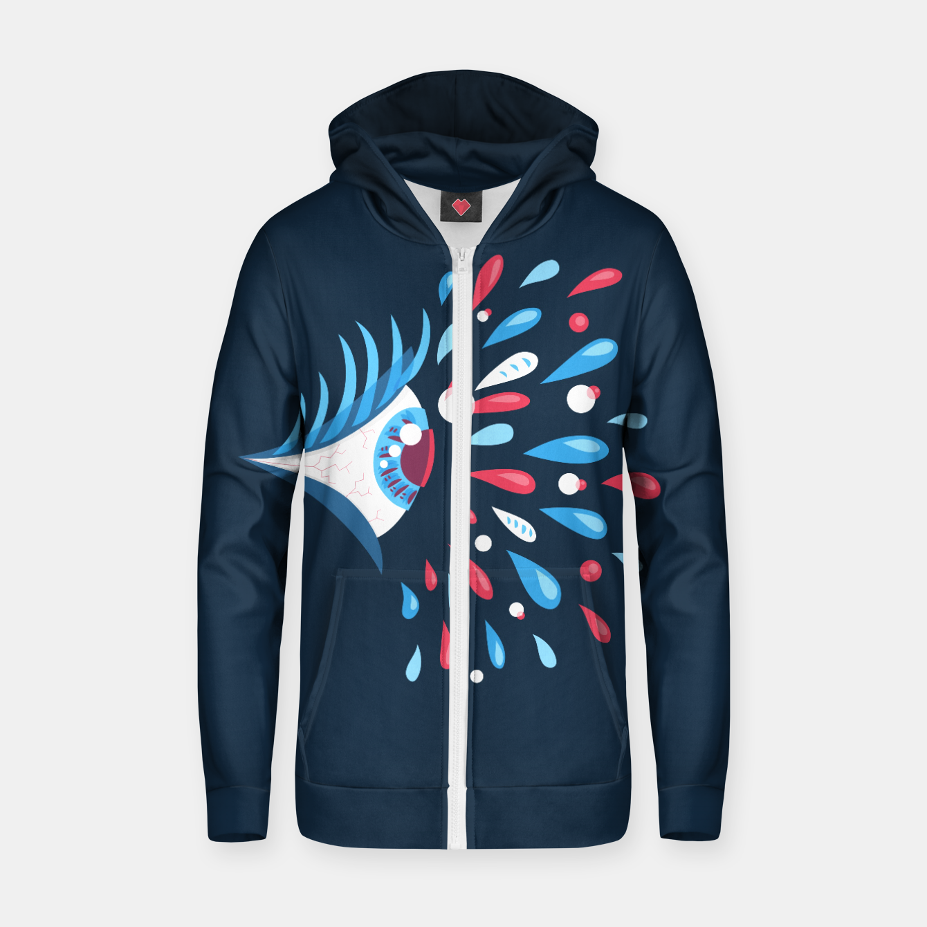 Image of Weird Blue Psychedelic Eye Cotton zip up hoodie - Live Heroes