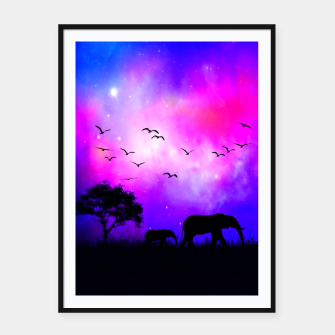 Miniatur Mom & Baby Elephant Framed poster, Live Heroes