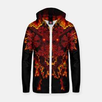 Red Halloween Fractal Fire Demon Cotton zip up hoodie thumbnail image
