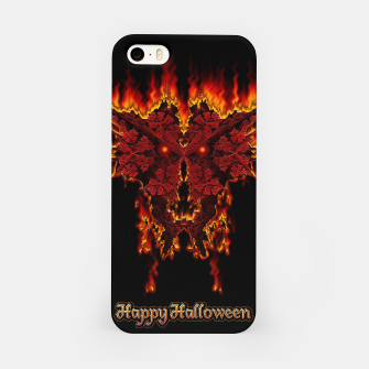 Red Halloween Fractal Fire Demon iPhone Case thumbnail image