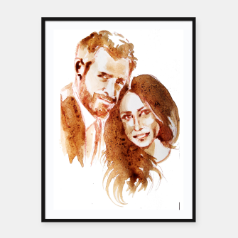 Thumbnail image of Meghan Harry coffee wedding ctr by yulia a korneva Framed poster, Live Heroes
