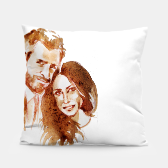 Thumbnail image of Meghan Harry coffee wedding lft by yulia a korneva Pillow, Live Heroes