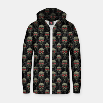 Thumbnail image of Skulls Motif Pattern Cotton zip up hoodie, Live Heroes
