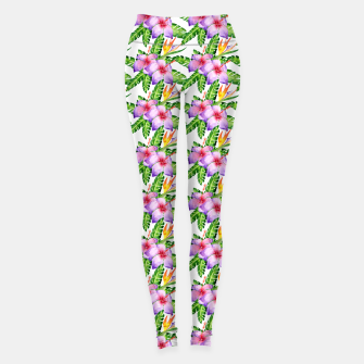 Miniature de image de Tropical Watercolor Floral Print Leggings, Live Heroes