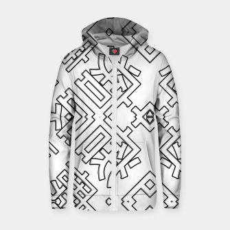 Thumbnail image of Language Blocks Typography Abstract Cotton zip up hoodie, Live Heroes