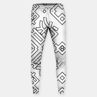 Thumbnail image of Language Blocks Typography Abstract Cotton sweatpants, Live Heroes