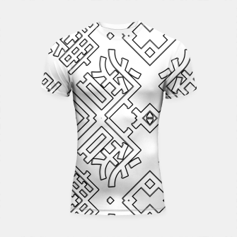Thumbnail image of Language Blocks Typography Abstract Shortsleeve rashguard, Live Heroes