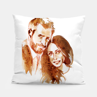 Thumbnail image of Meghan Harry coffee wedding ctr by yulia a korneva Pillow, Live Heroes