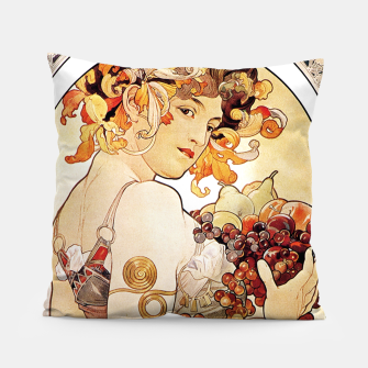 Thumbnail image of Alphonse Mucha Lady With Fruit Pillow, Live Heroes
