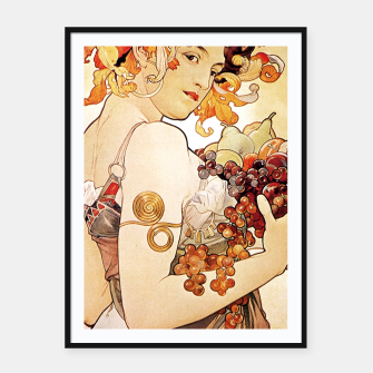 Thumbnail image of Alphonse Mucha Lady With Fruit Framed poster, Live Heroes