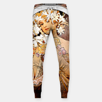 Thumbnail image of Alphonse Mucha Flower Cotton sweatpants, Live Heroes