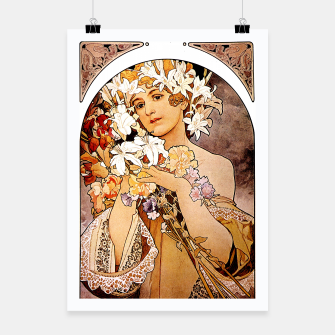 Thumbnail image of Alphonse Mucha Flower Poster, Live Heroes