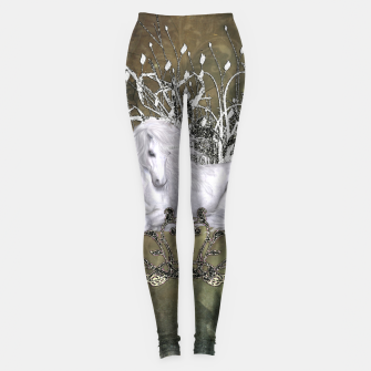 Imagen en miniatura de Wonderful unicorn with flowers on vintage background Leggings, Live Heroes