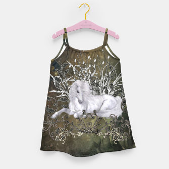 Miniaturka Wonderful unicorn with flowers on vintage background Girl's dress, Live Heroes