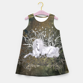 Miniatur Wonderful unicorn with flowers on vintage background Girl's summer dress, Live Heroes