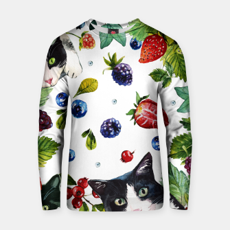 Cats and berries Cotton sweater Bild der Miniatur