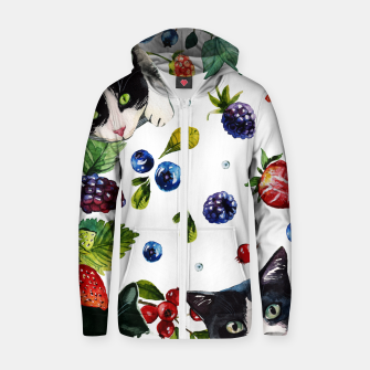 Thumbnail image of Cats and berries Cotton zip up hoodie, Live Heroes