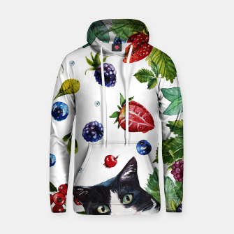 Cats and berries Cotton hoodie Bild der Miniatur