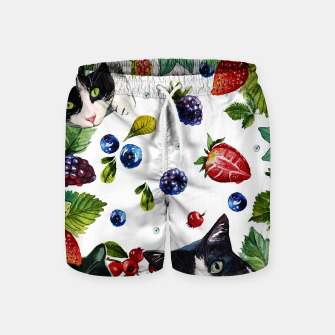 Cats and berries Swim Shorts Bild der Miniatur