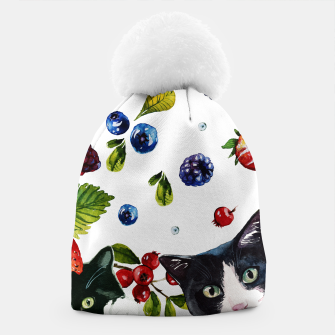 Cats and berries Beanie Bild der Miniatur