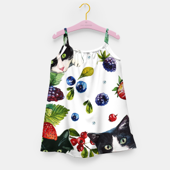 Miniaturka Cats and berries Girl's dress, Live Heroes