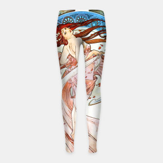 Thumbnail image of Alphonse Mucha Dance, Art Nouveau Vintage Art Girl's leggings, Live Heroes