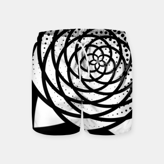 Thumbnail image of Black and White Flower Swim Shorts, Live Heroes