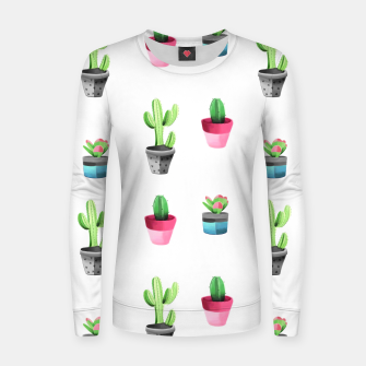 Imagen en miniatura de Watercolor Cactus  Woman cotton sweater, Live Heroes
