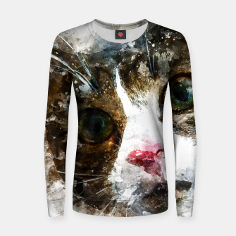 Imagen en miniatura de gxp cat for real watercolor mix - katze for real wasserfarbe mix Frauen baumwoll sweatshirt, Live Heroes