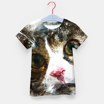 Imagen en miniatura de gxp cat for real watercolor mix - katze for real wasserfarbe mix T-Shirt für kinder, Live Heroes