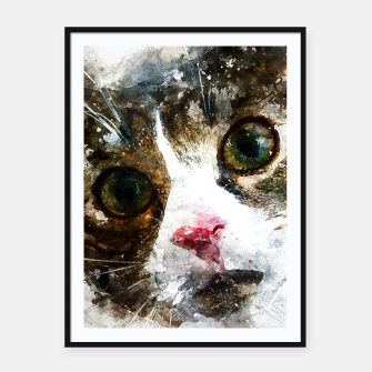 Imagen en miniatura de gxp cat for real watercolor mix - katze for real wasserfarbe mix Plakat mit rahmen, Live Heroes