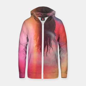Thumbnail image of The Upside Down World Cotton zip up hoodie, Live Heroes