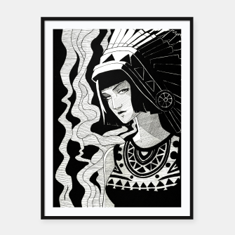 Imagen en miniatura de Indian Smoke black and white Framed poster, Live Heroes