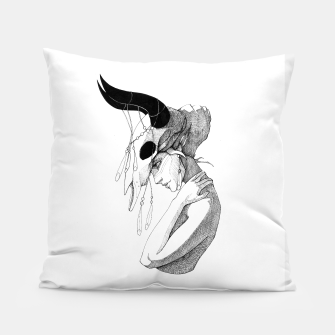 Thumbnail image of Woman & Skull Pillow, Live Heroes