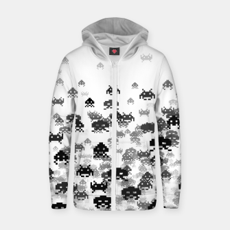 Thumbnail image of Invaded III B&W Cotton zip up hoodie, Live Heroes