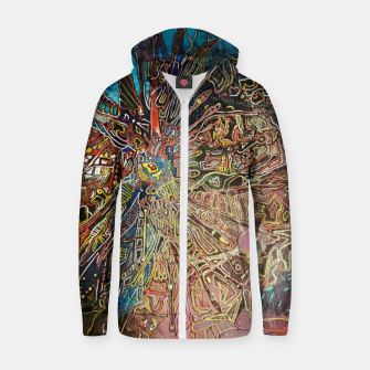 Thumbnail image of Fractal Traveler Cotton zip up hoodie, Live Heroes