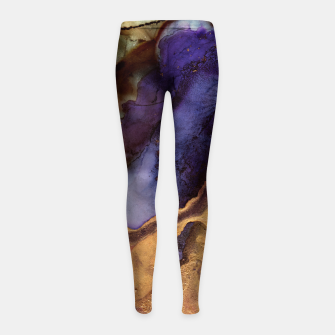 Miniaturka Purple and Gold Abstract Girl's leggings, Live Heroes