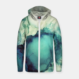 Thumbnail image of Teal Abstract Cotton zip up hoodie, Live Heroes