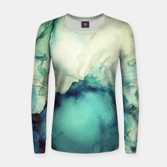 Thumbnail image of Teal Abstract Woman cotton sweater, Live Heroes